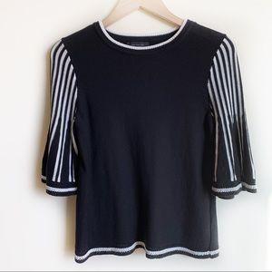 Ann Taylor Sweater Bell 3/4 Sleeve Black White XS